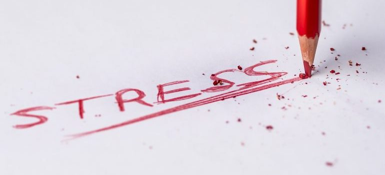 The word stress written with a red pencil.